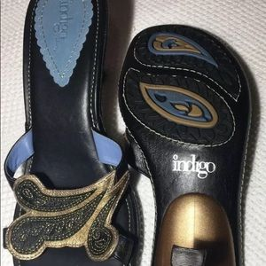 Indigo By Clarks Open Toe Heels Leather 8 1/2 M